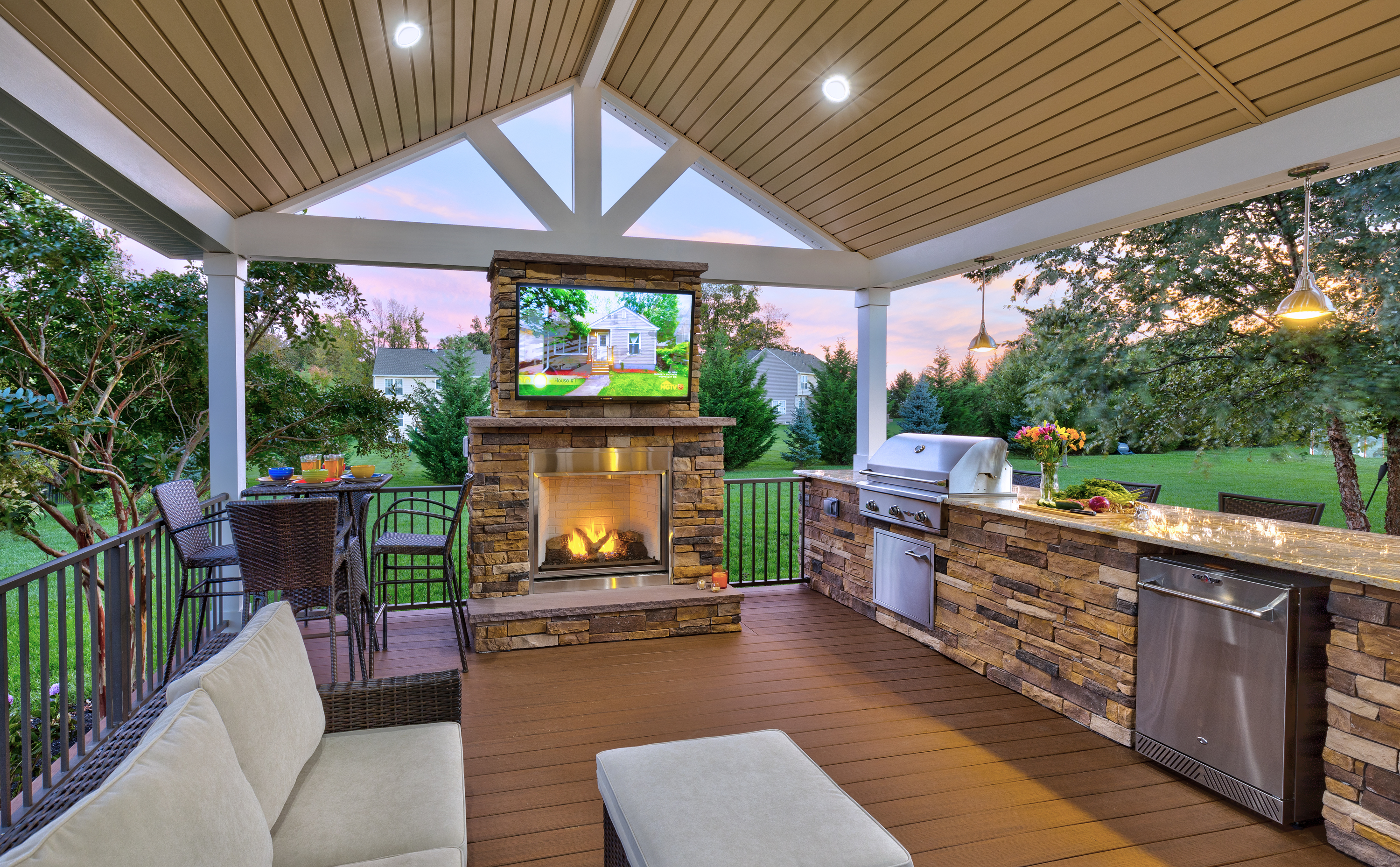 outdoor kitchen, fireplace, television or sound system
