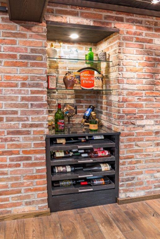 Custom Basement Renovations - wine cooler inset Bar Area (Chahalis)