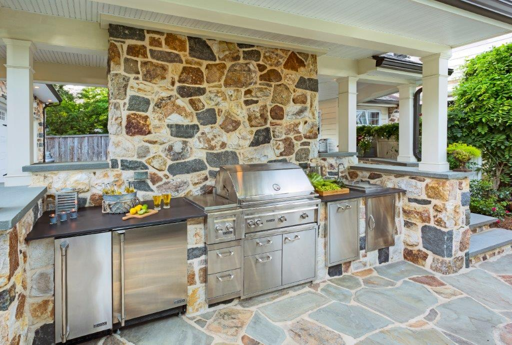 Full Outdoor Kitche with Stone wall and Slate Patio - Elkins