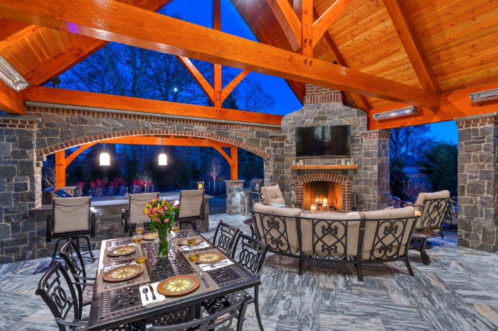 Pavilions & Outdoor Living Space With Stone Patio