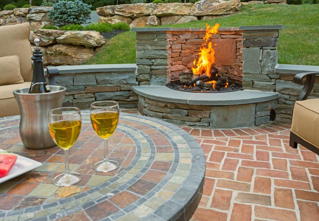 Patio with Fireplace Feature - artisan masonry