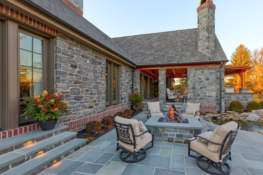 Slate Patio with Firepit