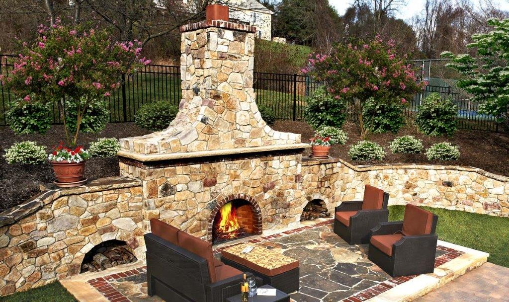 Outdoor Stone Fireplace_with Lumber Storage on Sides