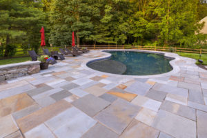 slate deck and inground pool